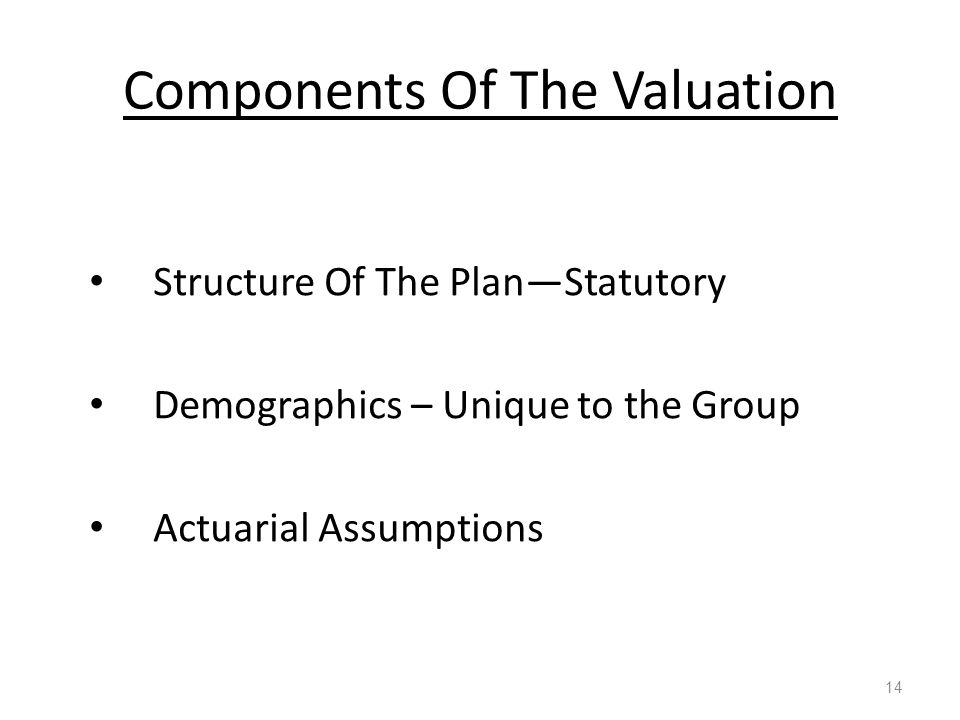 Components Of The Valuation 14 Structure Of The Plan—Statutory Demographics – Unique to the Group Actuarial Assumptions