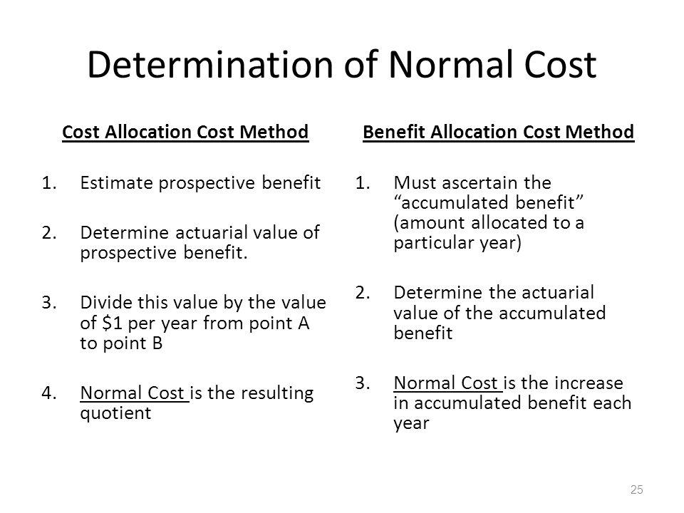 Determination of Normal Cost Cost Allocation Cost Method 1.Estimate prospective benefit 2.Determine actuarial value of prospective benefit.