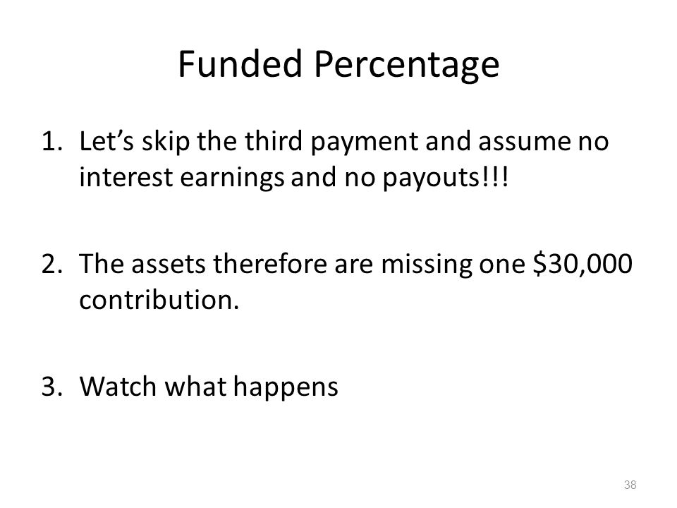 Funded Percentage 1.Let's skip the third payment and assume no interest earnings and no payouts!!.