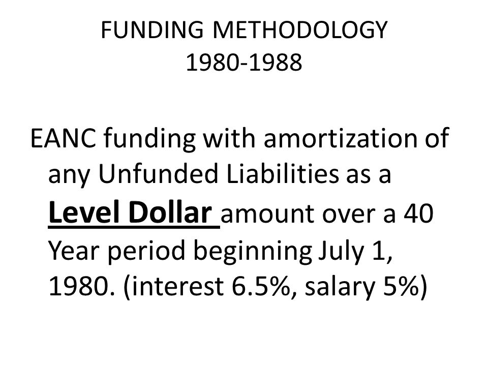 FUNDING METHODOLOGY 1980-1988 EANC funding with amortization of any Unfunded Liabilities as a Level Dollar amount over a 40 Year period beginning July