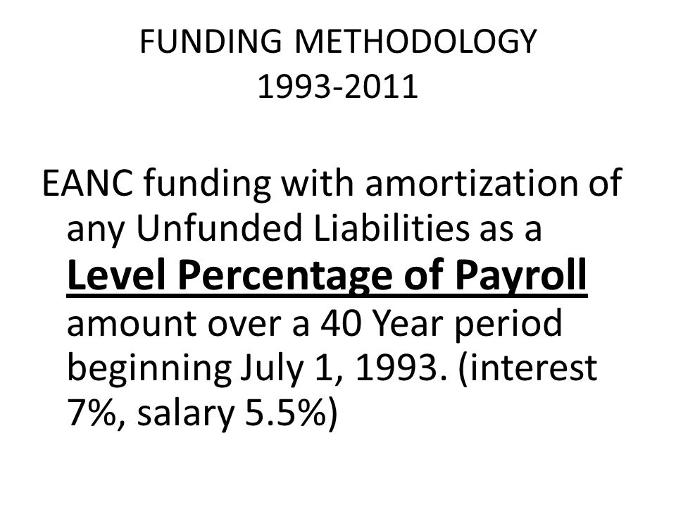 FUNDING METHODOLOGY 1993-2011 EANC funding with amortization of any Unfunded Liabilities as a Level Percentage of Payroll amount over a 40 Year period beginning July 1, 1993.