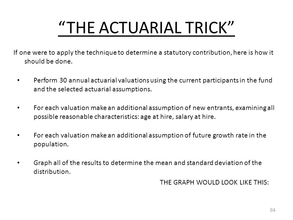 """THE ACTUARIAL TRICK"" 84 If one were to apply the technique to determine a statutory contribution, here is how it should be done. Perform 30 annual ac"