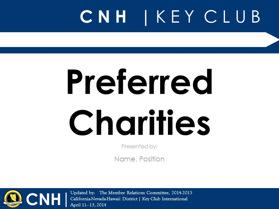 C N H | K E Y C L U B | Updated by: California-Nevada-Hawaii District | Key Club International April 11–13, 2014 Presented by: CNH Preferred Charities Name, Position The Member Relations Committee, 2014-2015