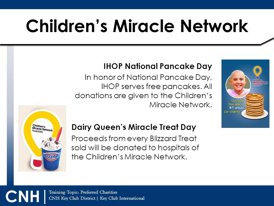 Training Topic: CNH Key Club District | Key Club International CNH | Children's Miracle Network Preferred Charities IHOP National Pancake Day In honor of National Pancake Day, IHOP serves free pancakes.