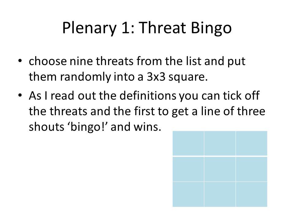 Plenary 1: Threat Bingo choose nine threats from the list and put them randomly into a 3x3 square.
