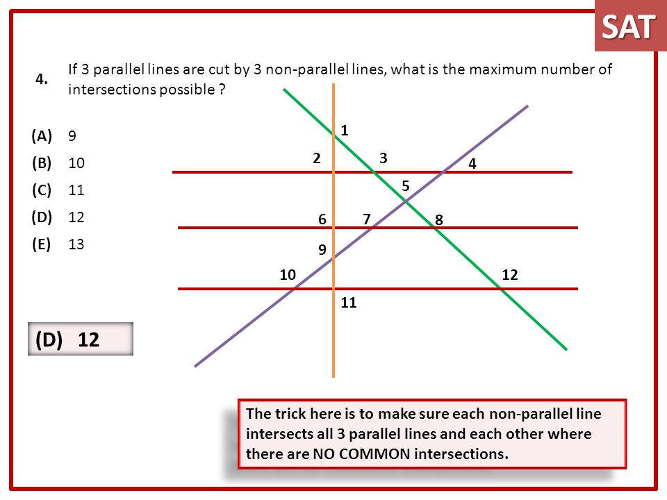 4. If 3 parallel lines are cut by 3 non-parallel lines, what is the maximum number of intersections possible ? (A)9 (B)10 (C)11 (D)12 (E)13 The trick
