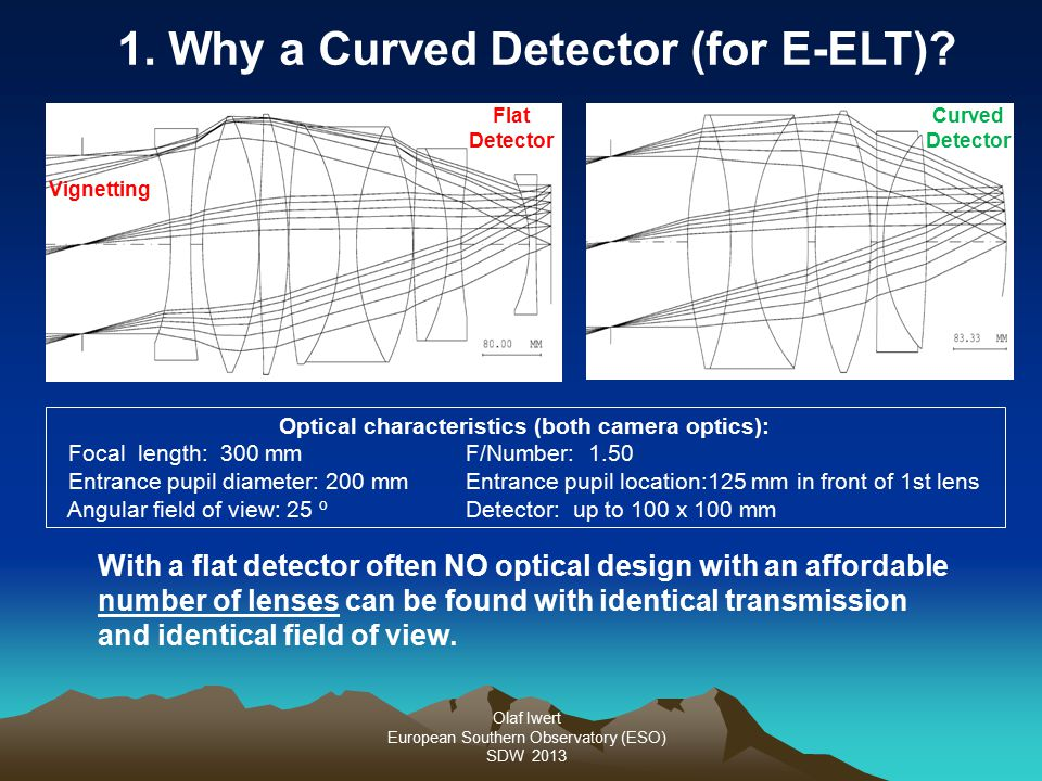 Olaf Iwert European Southern Observatory (ESO) SDW 2013 1. Why a Curved Detector (for E-ELT)? With a flat detector often NO optical design with an aff