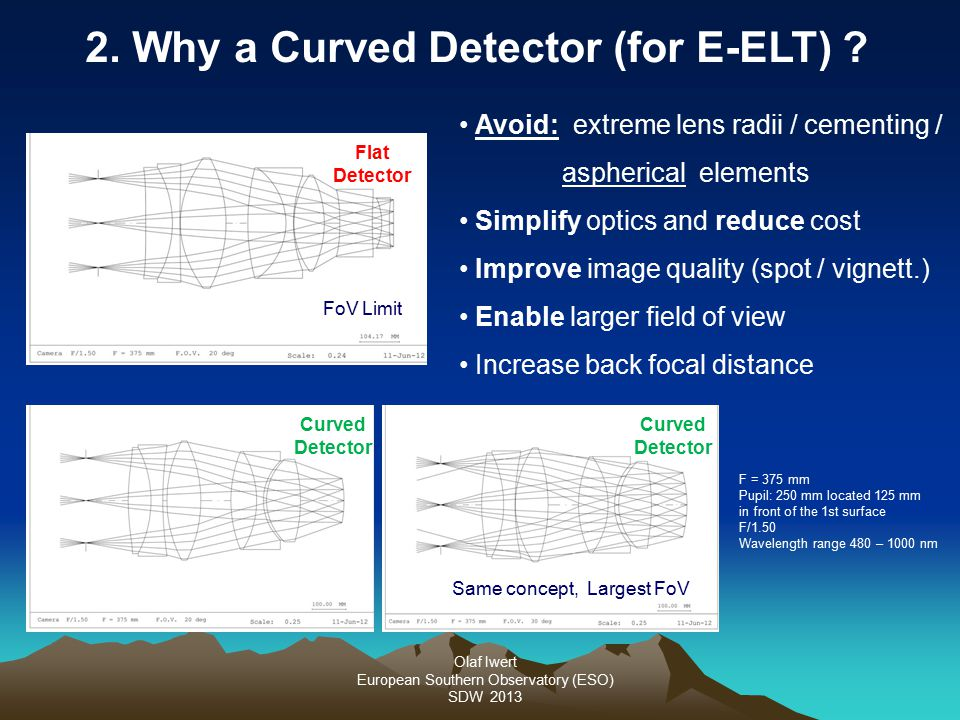 Olaf Iwert European Southern Observatory (ESO) SDW 2013 2. Why a Curved Detector (for E-ELT) ? Avoid: extreme lens radii / cementing / aspherical elem