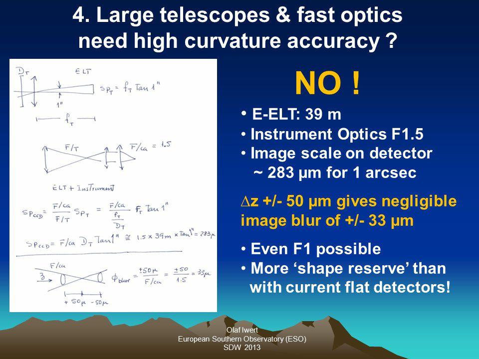 Olaf Iwert European Southern Observatory (ESO) SDW 2013 4. Large telescopes & fast optics need high curvature accuracy ? NO ! E-ELT: 39 m Instrument O