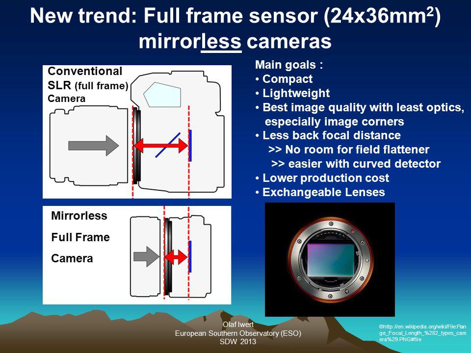 Olaf Iwert European Southern Observatory (ESO) SDW 2013 New trend: Full frame sensor (24x36mm 2 ) mirrorless cameras Conventional SLR (full frame) Cam