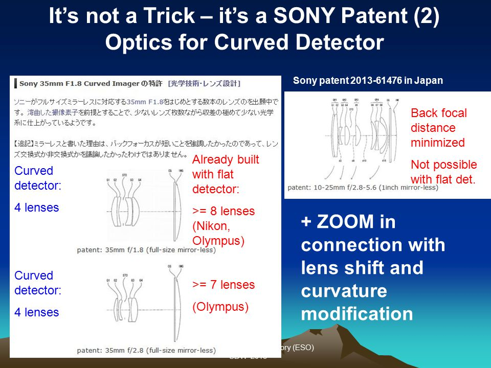 Olaf Iwert European Southern Observatory (ESO) SDW 2013 Sony patent 2013-61476 in Japan Already built with flat detector: >= 8 lenses (Nikon, Olympus)