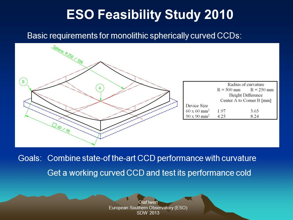 Olaf Iwert European Southern Observatory (ESO) SDW 2013 Goals: Combine state-of the-art CCD performance with curvature Get a working curved CCD and test its performance cold ESO Feasibility Study 2010 Basic requirements for monolithic spherically curved CCDs: