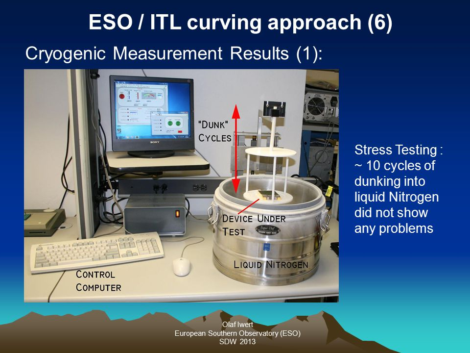 Olaf Iwert European Southern Observatory (ESO) SDW 2013 Stress Testing : ~ 10 cycles of dunking into liquid Nitrogen did not show any problems ESO / I