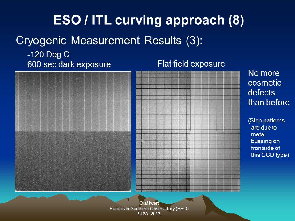 Olaf Iwert European Southern Observatory (ESO) SDW 2013 Cryogenic Measurement Results (3): ESO / ITL curving approach (8) -120 Deg C: 600 sec dark exp