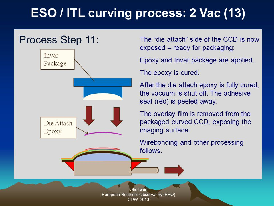 """Olaf Iwert European Southern Observatory (ESO) SDW 2013 ESO / ITL curving process: 2 Vac (13) Process Step 11: The """"die attach"""" side of the CCD is now"""