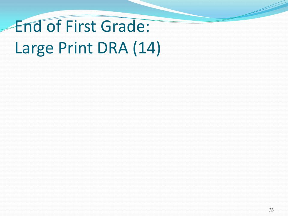 End of First Grade: Large Print DRA (14) 33