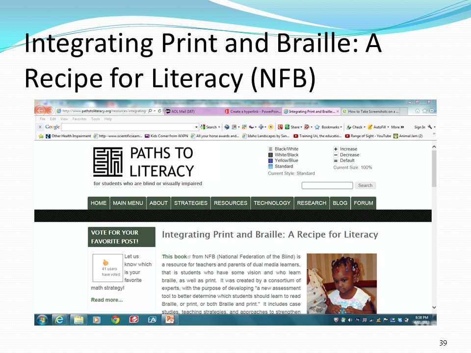 Integrating Print and Braille: A Recipe for Literacy (NFB) 39