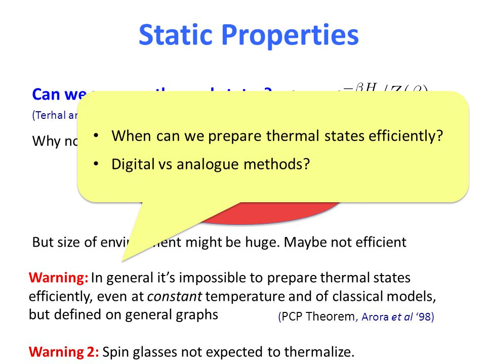 Static Properties Can we prepare thermal states. Why not.
