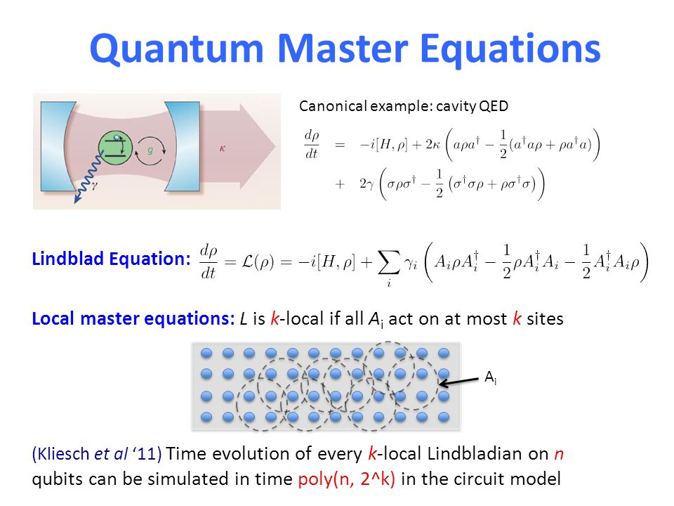 Lindblad Equation: Quantum Master Equations Canonical example: cavity QED Local master equations: L is k-local if all A i act on at most k sites (Kliesch et al '11) Time evolution of every k-local Lindbladian on n qubits can be simulated in time poly(n, 2^k) in the circuit model AiAi