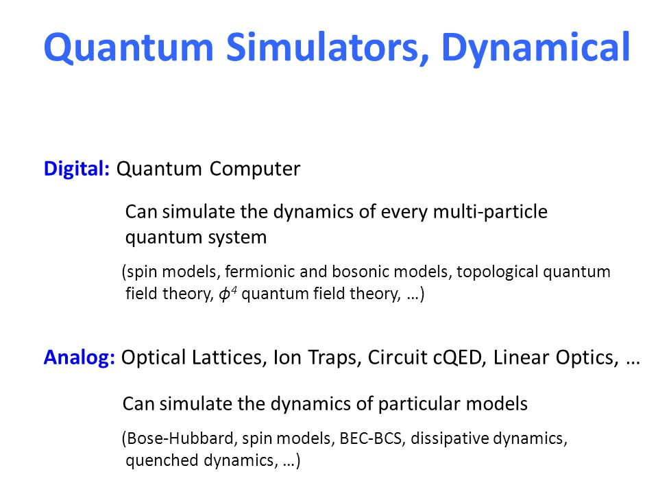 Quantum Simulators, Dynamical Digital: Quantum Computer Can simulate the dynamics of every multi-particle quantum system (spin models, fermionic and bosonic models, topological quantum field theory, ϕ 4 quantum field theory, …) Analog: Optical Lattices, Ion Traps, Circuit cQED, Linear Optics, … Can simulate the dynamics of particular models (Bose-Hubbard, spin models, BEC-BCS, dissipative dynamics, quenched dynamics, …)