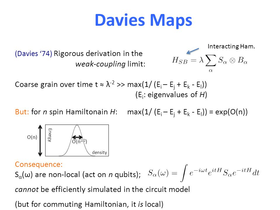 Davies Maps (Davies '74) Rigorous derivation in the weak-coupling limit: Coarse grain over time t ≈ λ -2 >> max(1/ (E i – E j + E k - E l )) (E i : eigenvalues of H) But: for n spin Hamiltonain H: max(1/ (E i – E j + E k - E l )) = exp(O(n)) Consequence: S α (ω) are non-local (act on n qubits); cannot be efficiently simulated in the circuit model (but for commuting Hamiltonian, it is local) Interacting Ham.