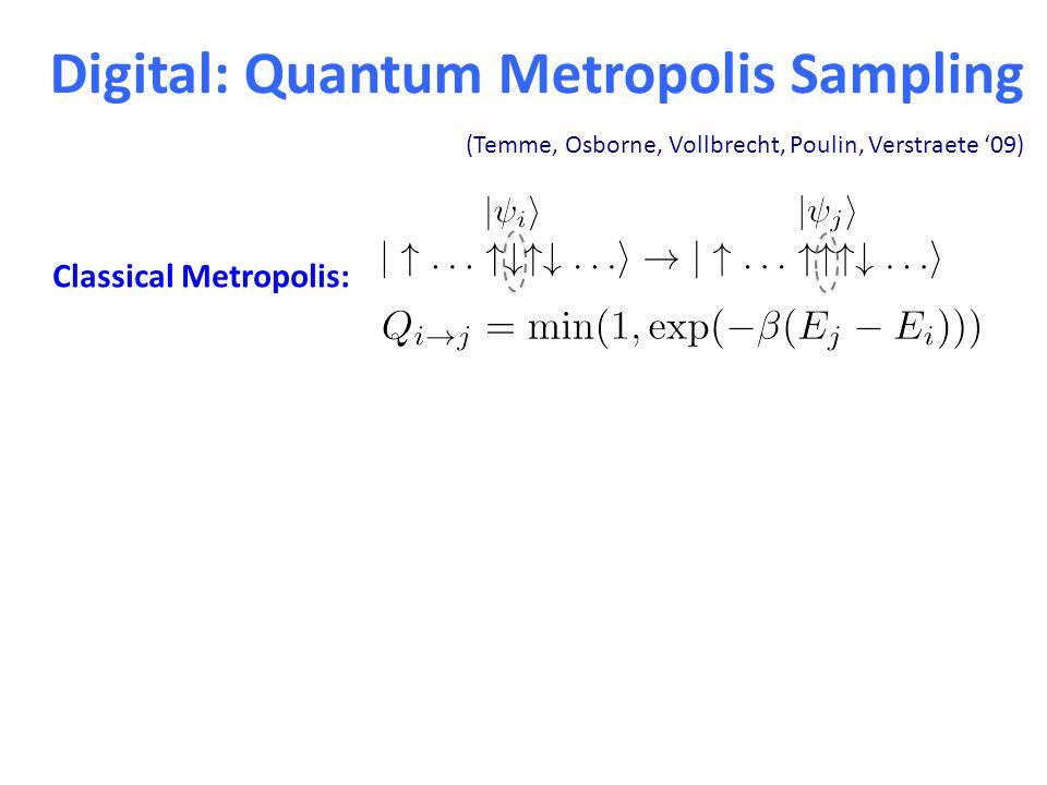 Digital: Quantum Metropolis Sampling (Temme, Osborne, Vollbrecht, Poulin, Verstraete '09) Classical Metropolis: