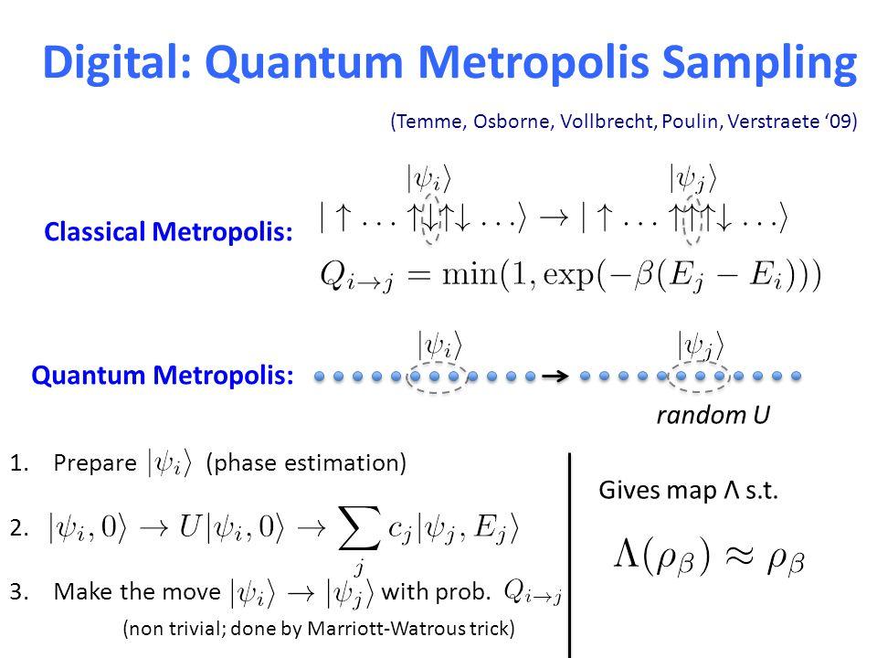 Digital: Quantum Metropolis Sampling (Temme, Osborne, Vollbrecht, Poulin, Verstraete '09) Classical Metropolis: Quantum Metropolis: random U 1.Prepare (phase estimation) 2.