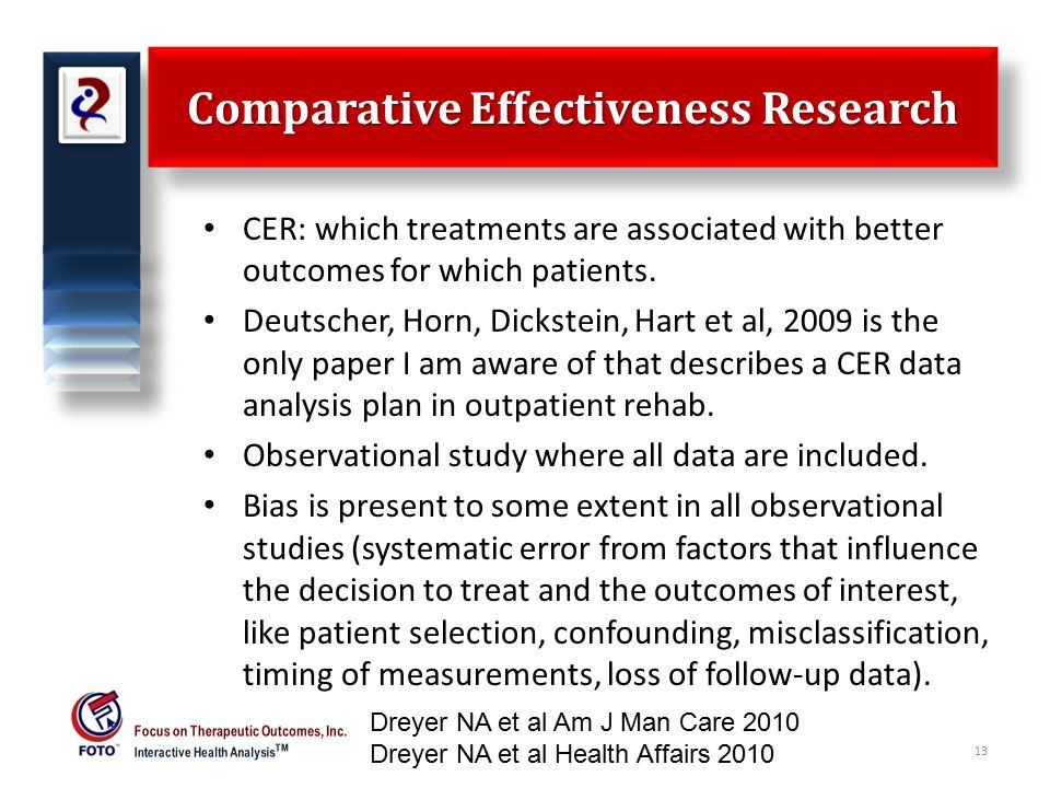 Comparative Effectiveness Research CER: which treatments are associated with better outcomes for which patients.