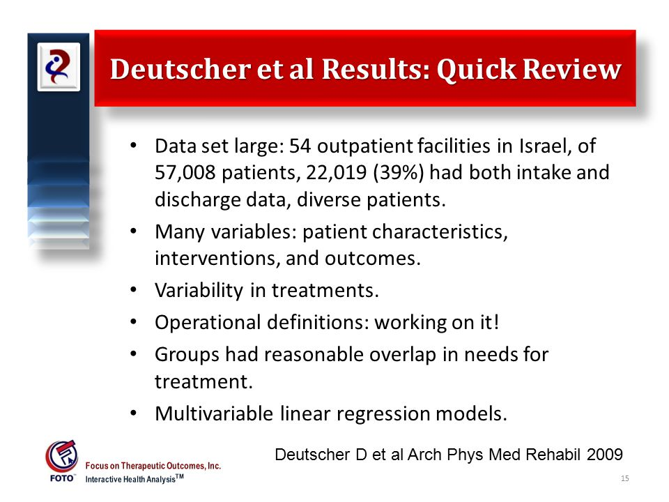 Deutscher et al Results: Quick Review Data set large: 54 outpatient facilities in Israel, of 57,008 patients, 22,019 (39%) had both intake and discharge data, diverse patients.