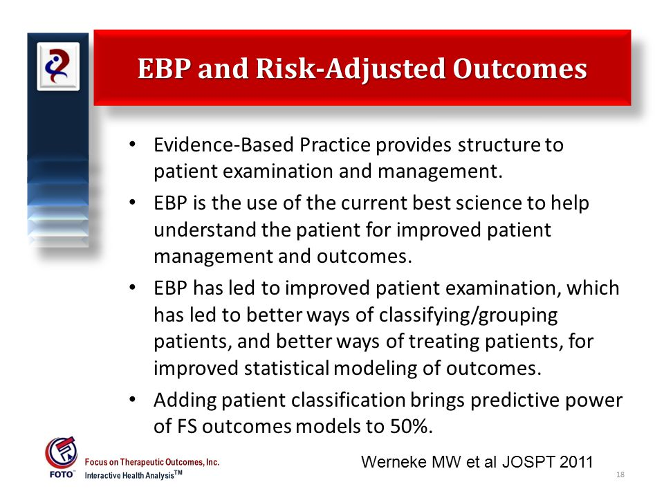 EBP and Risk-Adjusted Outcomes Evidence-Based Practice provides structure to patient examination and management.