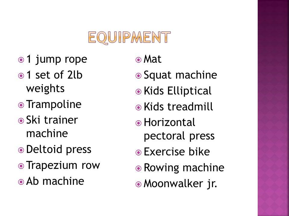  1 jump rope  1 set of 2lb weights  Trampoline  Ski trainer machine  Deltoid press  Trapezium row  Ab machine  Mat  Squat machine  Kids Elliptical  Kids treadmill  Horizontal pectoral press  Exercise bike  Rowing machine  Moonwalker jr.