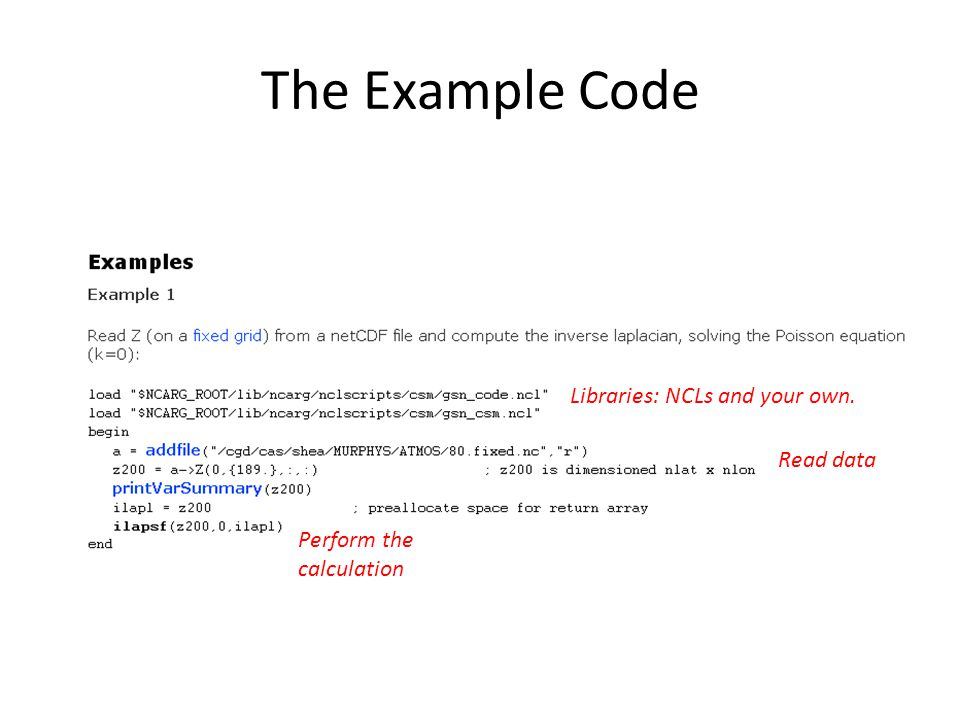 The Example Code Libraries: NCLs and your own. Read data Perform the calculation