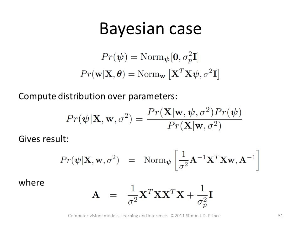 Bayesian case 51Computer vision: models, learning and inference.