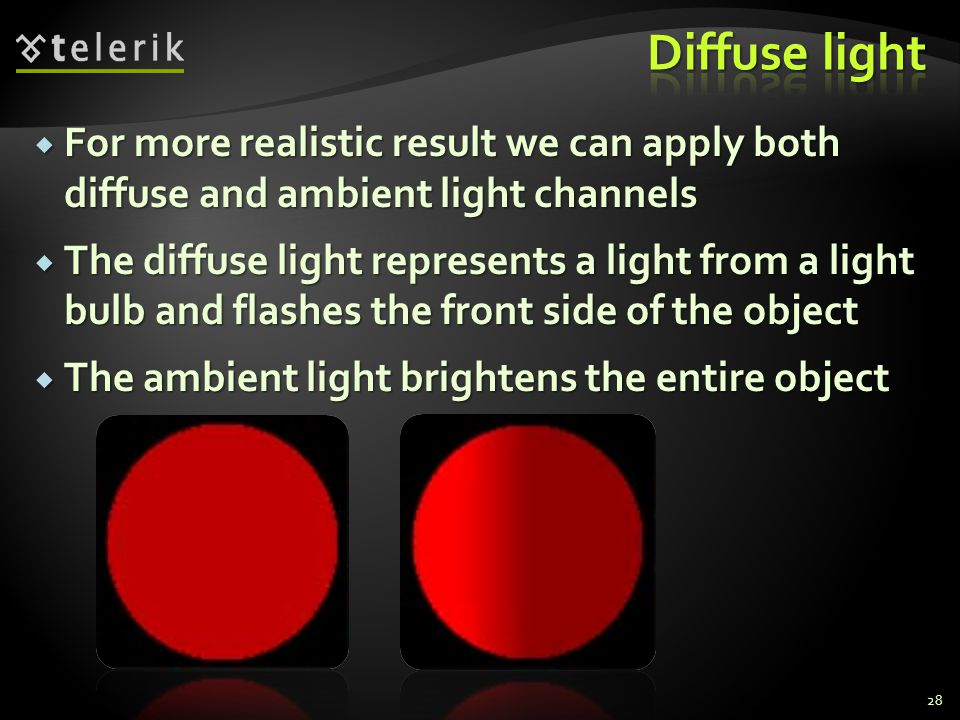  For more realistic result we can apply both diffuse and ambient light channels  The diffuse light represents a light from a light bulb and flashes
