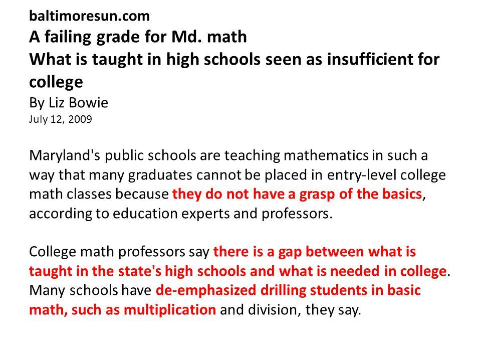baltimoresun.com A failing grade for Md.