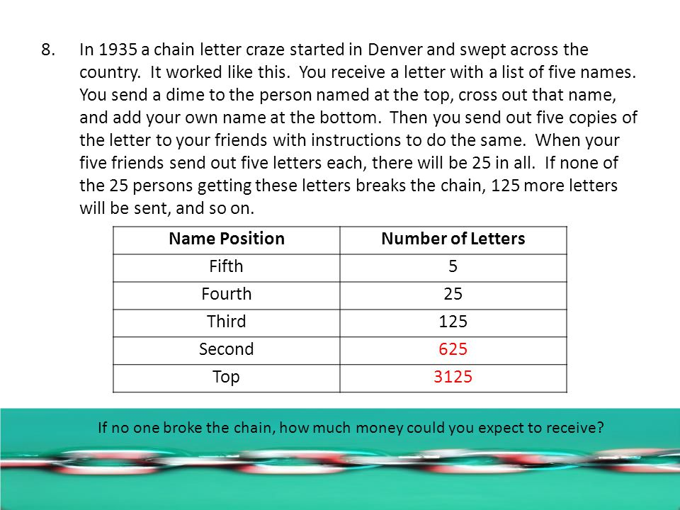8.In 1935 a chain letter craze started in Denver and swept across the country.