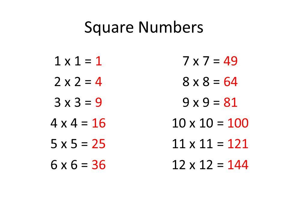 Square Numbers 1 x 1 = 1 2 x 2 = 4 3 x 3 = 9 4 x 4 = 16 5 x 5 = 25 6 x 6 = 36 7 x 7 = 49 8 x 8 = 64 9 x 9 = 81 10 x 10 = 100 11 x 11 = 121 12 x 12 = 144