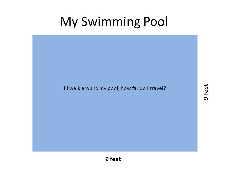 My Swimming Pool 9 feet 9 Feet If I walk around my pool, how far do I travel