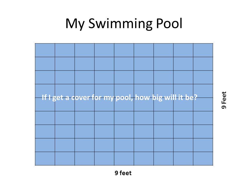 My Swimming Pool 9 feet 9 Feet If I get a cover for my pool, how big will it be