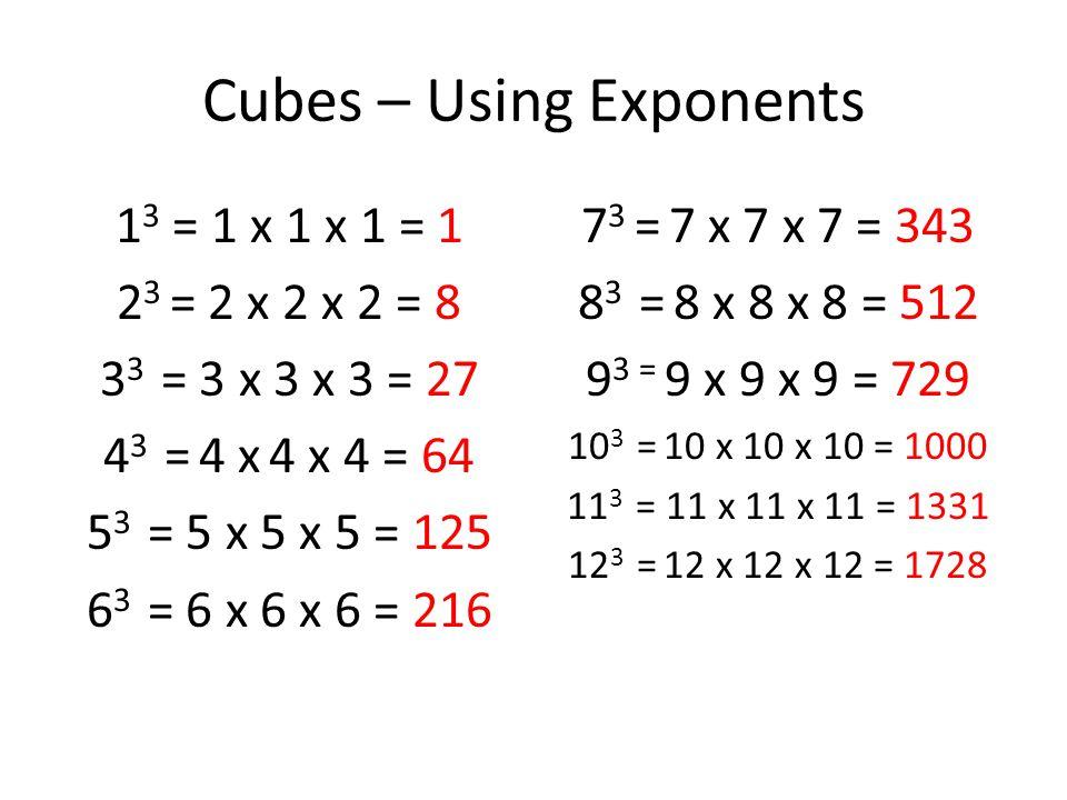 Cubes – Using Exponents 1 3 = 1 x 1 x 1 = 1 2 3 = 2 x 2 x 2 = 8 3 3 = 3 x 3 x 3 = 27 4 3 = 4 x 4 x 4 = 64 5 3 = 5 x 5 x 5 = 125 6 3 = 6 x 6 x 6 = 216 7 3 = 7 x 7 x 7 = 343 8 3 = 8 x 8 x 8 = 512 9 3 = 9 x 9 x 9 = 729 10 3 = 10 x 10 x 10 = 1000 11 3 = 11 x 11 x 11 = 1331 12 3 = 12 x 12 x 12 = 1728