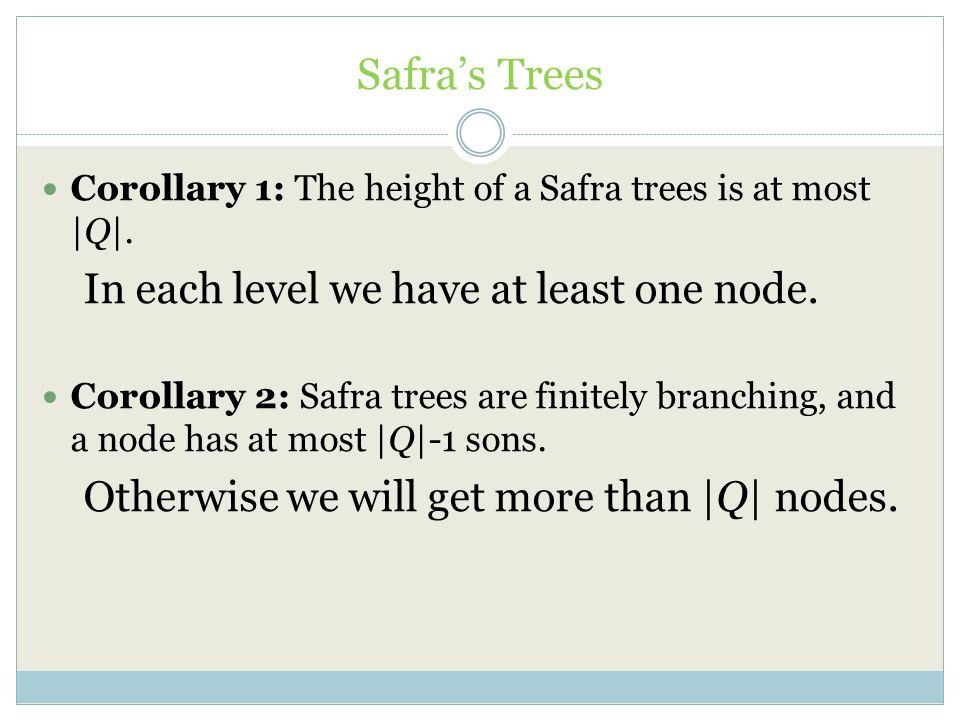 Safra's Trees Corollary 1: The height of a Safra trees is at most |Q|. In each level we have at least one node. Corollary 2: Safra trees are finitely