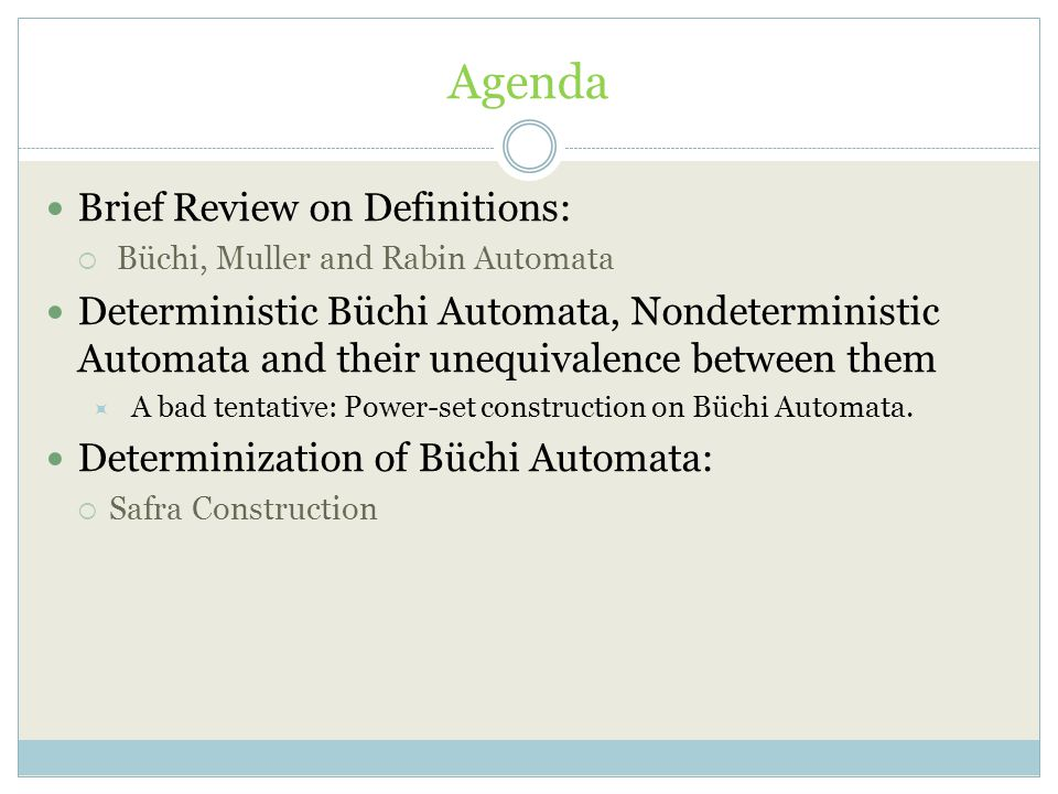 Agenda Brief Review on Definitions:  Büchi, Muller and Rabin Automata Deterministic Büchi Automata, Nondeterministic Automata and their unequivalence