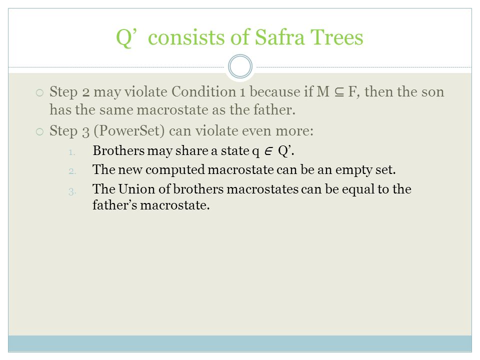 Q' consists of Safra Trees  Step 2 may violate Condition 1 because if M ⊆ F, then the son has the same macrostate as the father.  Step 3 (PowerSet)