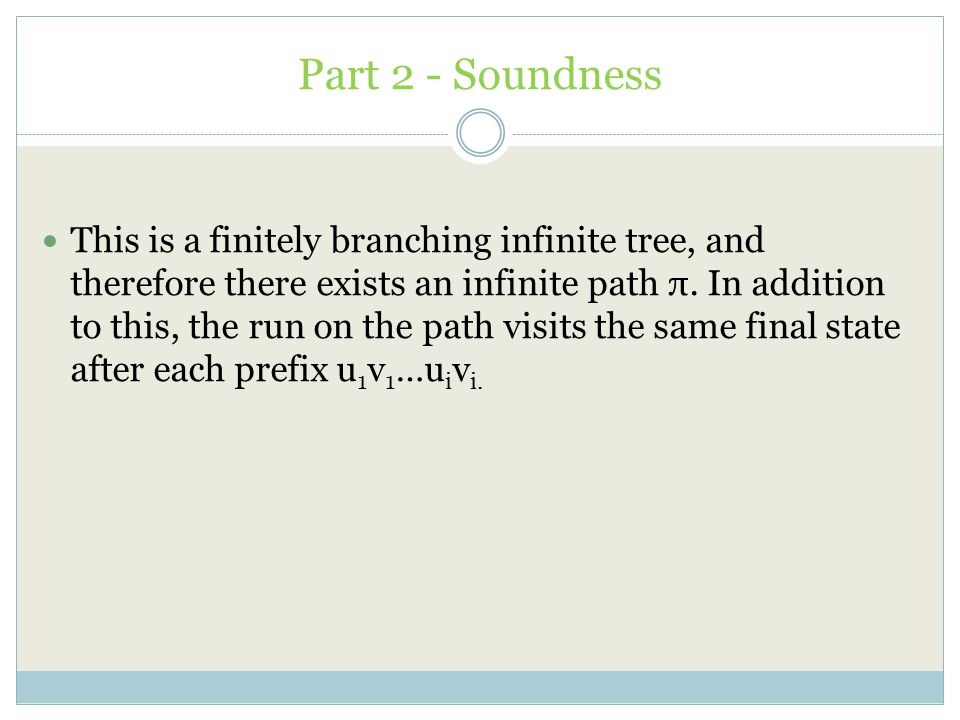 Part 2 - Soundness This is a finitely branching infinite tree, and therefore there exists an infinite path π. In addition to this, the run on the path