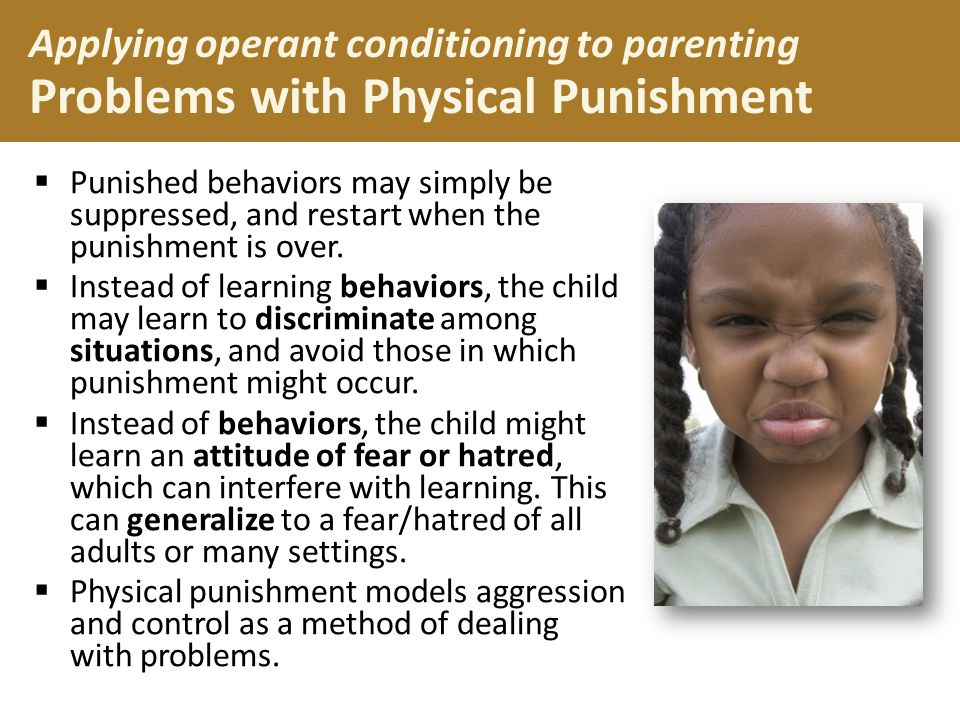  Punished behaviors may simply be suppressed, and restart when the punishment is over.