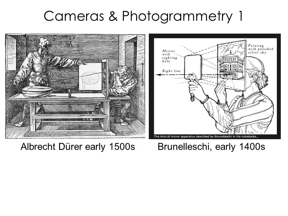 Cameras & Photogrammetry 1 Albrecht Dürer early 1500sBrunelleschi, early 1400s