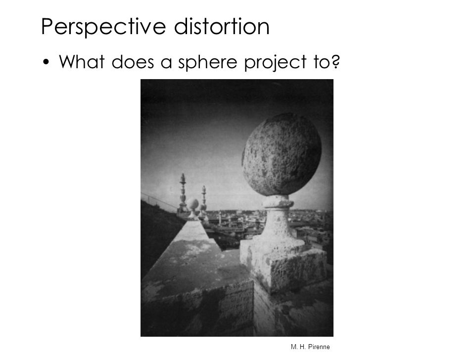 Perspective distortion What does a sphere project to M. H. Pirenne