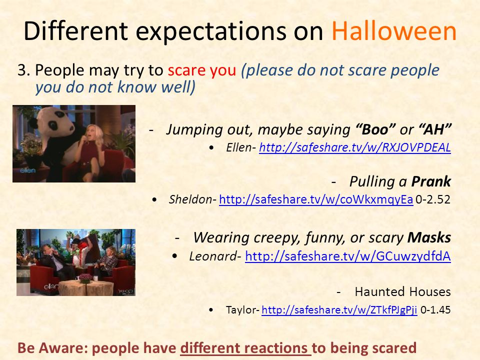 Different expectations on Halloween 3.