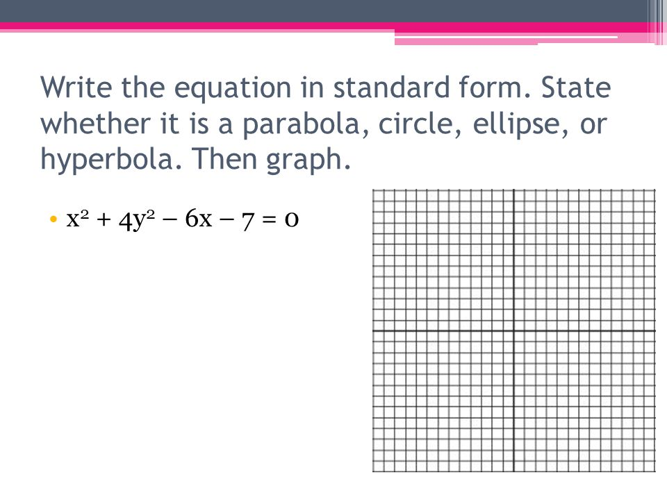 Write the equation in standard form. State whether it is a parabola, circle, ellipse, or hyperbola. Then graph. x 2 + 4y 2 – 6x – 7 = 0