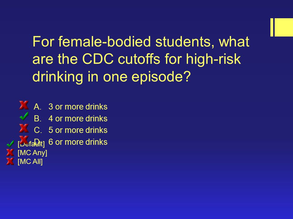 For female-bodied students, what are the CDC cutoffs for high-risk drinking in one episode.